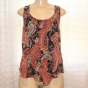 Sleeveless Fall Paisley Print blouse
